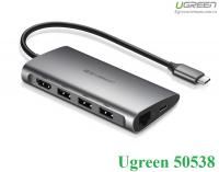 Bộ chuyển USB TypeC sang HDMI/Ethernet/Hub USB 3.0/Card SD/TF Ugreen 50538