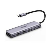 Bộ chuyển USB TypeC to HDMI, USB 3.0, đọc thẻ SD/TF, hỗ trợ sạc USB-C Ugreen 70411