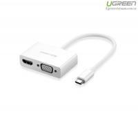 Cáp chuyển USB Type-C to HDMI và VGA Ugreen 30843
